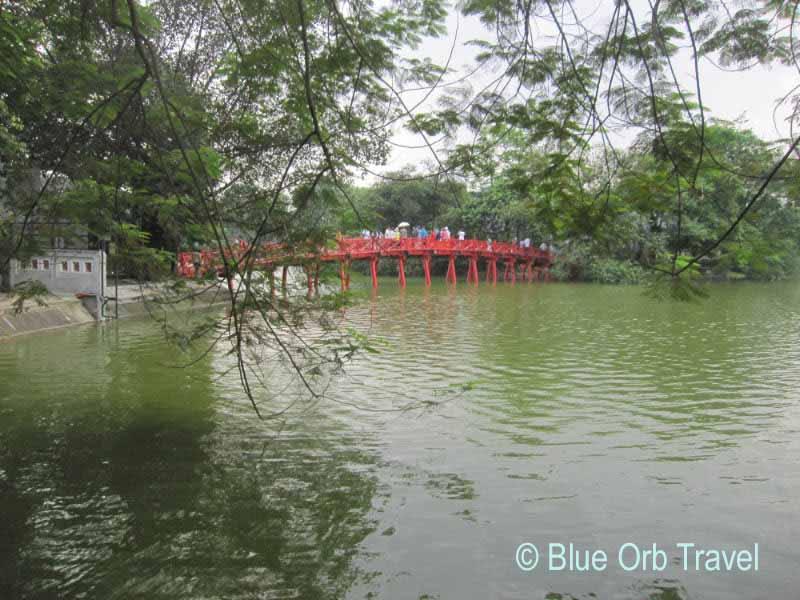The Huc Bridge on Hoan Kiem Lake, Hanoi, Vietnam