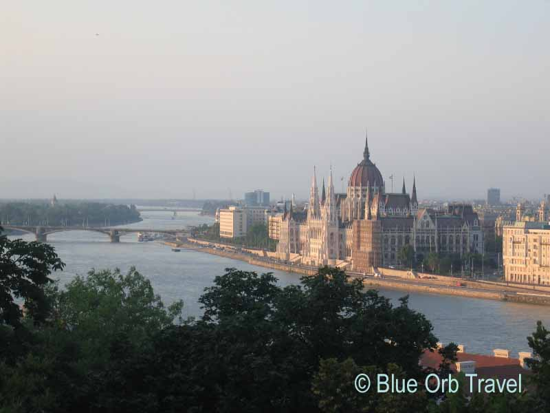 Hungarian Parliament Building across the Danube River from the Buda side of Budapest