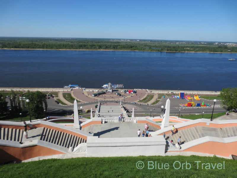 Chkalov Steps Rising from Volga River