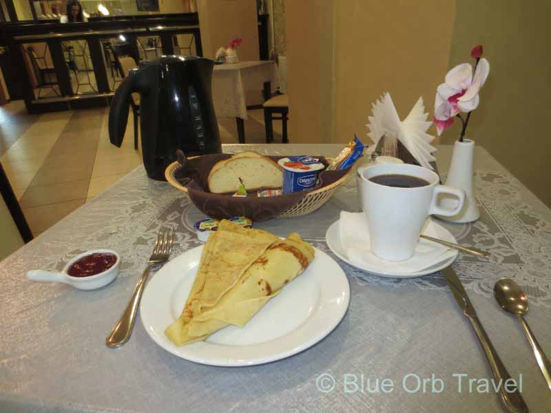 Breakfast at the Troitskaya Hotel Nizhny Novgorod, Russia